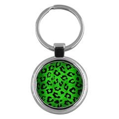 Skin5 Black Marble & Green Brushed Metal Key Chains (round)