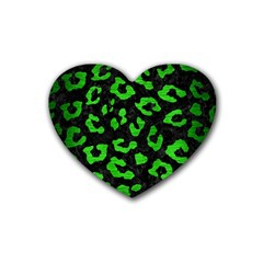 Skin5 Black Marble & Green Brushed Metal (r) Rubber Coaster (heart)