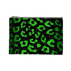 Skin5 Black Marble & Green Brushed Metal (r) Cosmetic Bag (large)