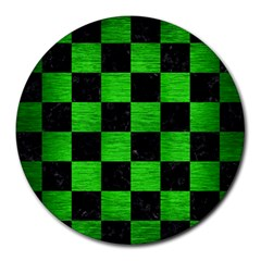 Square1 Black Marble & Green Brushed Metal Round Mousepads