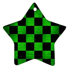 Square1 Black Marble & Green Brushed Metal Ornament (star)
