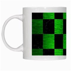 Square1 Black Marble & Green Brushed Metal White Mugs