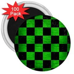 Square1 Black Marble & Green Brushed Metal 3  Magnets (100 Pack)