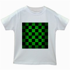 Square1 Black Marble & Green Brushed Metal Kids White T Shirts