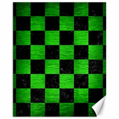 Square1 Black Marble & Green Brushed Metal Canvas 11  X 14