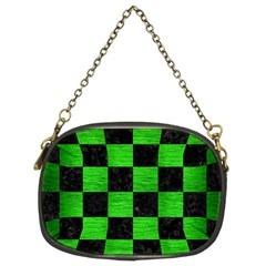 Square1 Black Marble & Green Brushed Metal Chain Purses (two Sides)