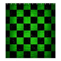 Square1 Black Marble & Green Brushed Metal Shower Curtain 66  X 72  (large)