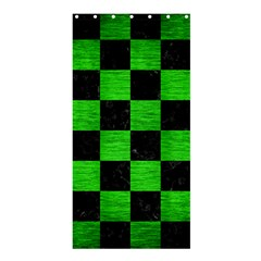Square1 Black Marble & Green Brushed Metal Shower Curtain 36  X 72  (stall)