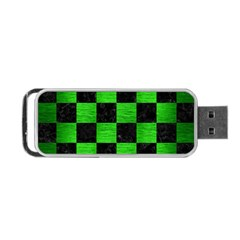 Square1 Black Marble & Green Brushed Metal Portable Usb Flash (two Sides)