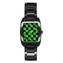 Square1 Black Marble & Green Brushed Metal Stainless Steel Barrel Watch