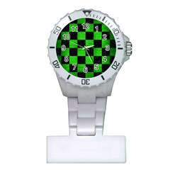 Square1 Black Marble & Green Brushed Metal Plastic Nurses Watch