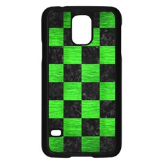 Square1 Black Marble & Green Brushed Metal Samsung Galaxy S5 Case (black)