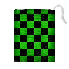 Square1 Black Marble & Green Brushed Metal Drawstring Pouches (extra Large)