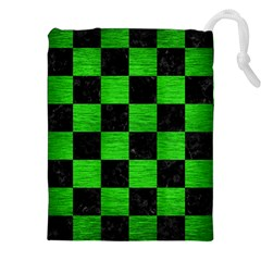 Square1 Black Marble & Green Brushed Metal Drawstring Pouches (xxl)