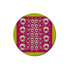 Going Gold Or Metal On Fern Pop Art Rubber Round Coaster (4 Pack)