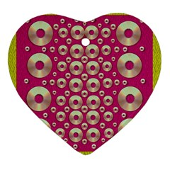 Going Gold Or Metal On Fern Pop Art Heart Ornament (two Sides)
