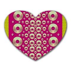Going Gold Or Metal On Fern Pop Art Heart Mousepads