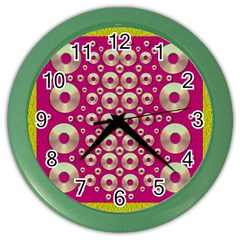 Going Gold Or Metal On Fern Pop Art Color Wall Clocks