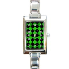 Square2 Black Marble & Green Brushed Metal Rectangle Italian Charm Watch