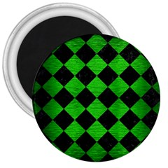 Square2 Black Marble & Green Brushed Metal 3  Magnets
