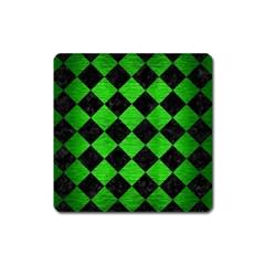 Square2 Black Marble & Green Brushed Metal Square Magnet