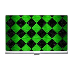 Square2 Black Marble & Green Brushed Metal Business Card Holders