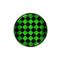 Square2 Black Marble & Green Brushed Metal Hat Clip Ball Marker (4 Pack)