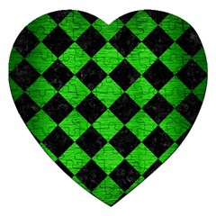 Square2 Black Marble & Green Brushed Metal Jigsaw Puzzle (heart)