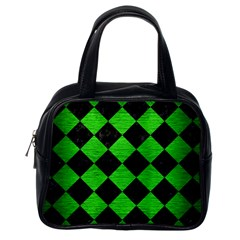 Square2 Black Marble & Green Brushed Metal Classic Handbags (one Side)