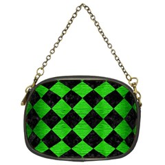 Square2 Black Marble & Green Brushed Metal Chain Purses (two Sides)