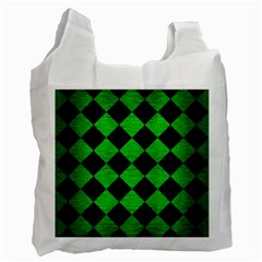 Square2 Black Marble & Green Brushed Metal Recycle Bag (one Side)