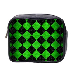 Square2 Black Marble & Green Brushed Metal Mini Toiletries Bag 2 Side