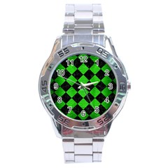 Square2 Black Marble & Green Brushed Metal Stainless Steel Analogue Watch