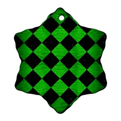 Square2 Black Marble & Green Brushed Metal Snowflake Ornament (two Sides)