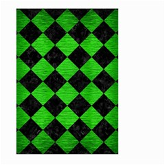 Square2 Black Marble & Green Brushed Metal Large Garden Flag (two Sides)