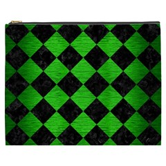 Square2 Black Marble & Green Brushed Metal Cosmetic Bag (xxxl)