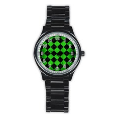Square2 Black Marble & Green Brushed Metal Stainless Steel Round Watch
