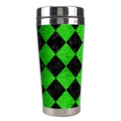 Square2 Black Marble & Green Brushed Metal Stainless Steel Travel Tumblers