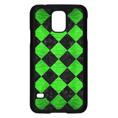 Square2 Black Marble & Green Brushed Metal Samsung Galaxy S5 Case (black)
