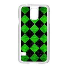 Square2 Black Marble & Green Brushed Metal Samsung Galaxy S5 Case (white)