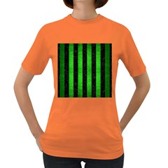 Stripes1 Black Marble & Green Brushed Metal Women s Dark T Shirt