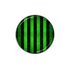 Stripes1 Black Marble & Green Brushed Metal Hat Clip Ball Marker