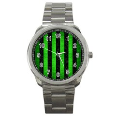 Stripes1 Black Marble & Green Brushed Metal Sport Metal Watch