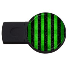Stripes1 Black Marble & Green Brushed Metal Usb Flash Drive Round (4 Gb)