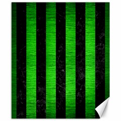 Stripes1 Black Marble & Green Brushed Metal Canvas 8  X 10