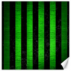 Stripes1 Black Marble & Green Brushed Metal Canvas 16  X 16