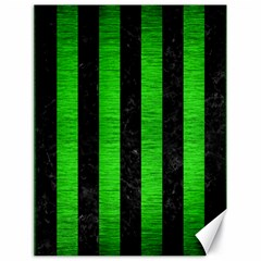 Stripes1 Black Marble & Green Brushed Metal Canvas 18  X 24