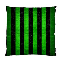 Stripes1 Black Marble & Green Brushed Metal Standard Cushion Case (one Side)