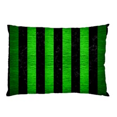 Stripes1 Black Marble & Green Brushed Metal Pillow Case