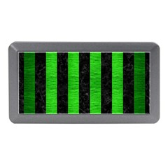 Stripes1 Black Marble & Green Brushed Metal Memory Card Reader (mini)